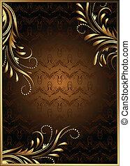 gouden, ornament, achtergrond