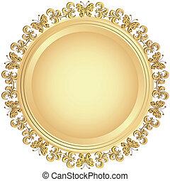 gouden, ornament, schaaltje