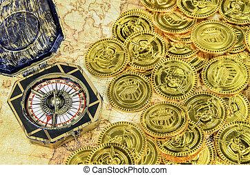 gouden, oud, kaart, kompas, wereld, munt, zeerover