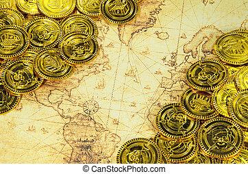 gouden, oud, kaart, wereld, munt, zeerover
