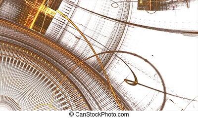 gouden, oud, metaal, de wielen van het toestel