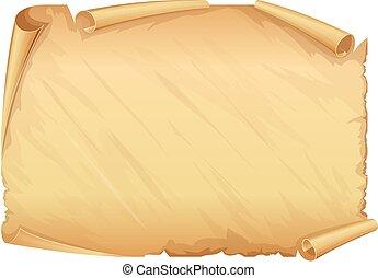 gouden, oud, perkament, boekrol