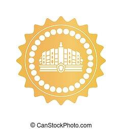 gouden, oud, postzegel, koninklijke kroon, luxueus