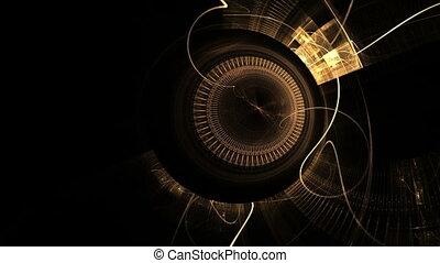 gouden, oud, tandwiel, klok, metaal, mechanisme, wielen