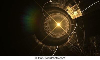 gouden, oud, tandwiel, klok, metaal, mechanisme, wielen, stralen