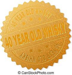 gouden, oude postzegel, 40, jaar, medaille, whisky