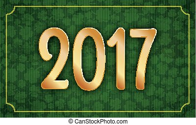 gouden, ouderwetse , frame, lang, klavers, 2017