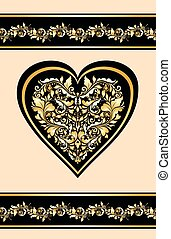 gouden, ouderwetse , model, uitnodiging, trouwfeest, floral