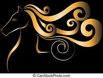 gouden, paarde