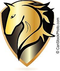gouden, paarde, vector, embleem, pictogram
