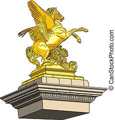 gouden, paarde, vector