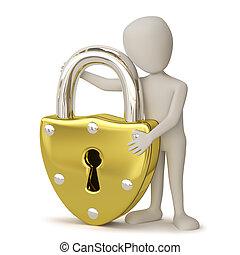 gouden, padlock., mensen, -, kleine, 3d