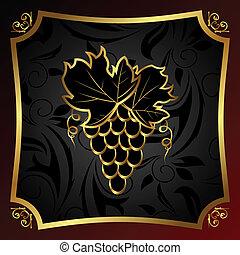 gouden, pakking, etiket, wijntje