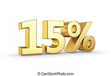 gouden, percentage, symbool, waarde