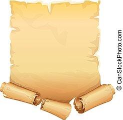 gouden, perkament, boekrol, lint, groot