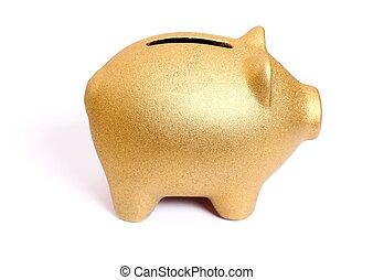 gouden, piggy bank , van, rechts, bovenkant