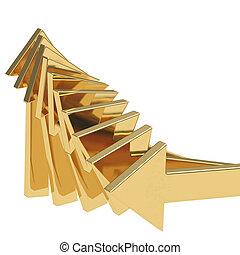 gouden, pijl, het uitgaan, -, succes, concept, illustratie
