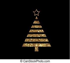 gouden, plat, boompje, vector, schitteren, kerstmis,...