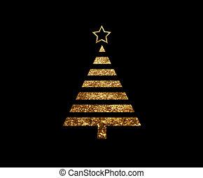 gouden, plat, boompje, vrijstaand, schitteren, kerstmis,...