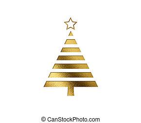 gouden, plat, boompje, vrijstaand, schitteren, kerstmis, pictogram