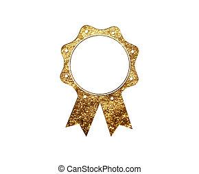 gouden, plat, schitteren, vrijstaand, luxe, badge, pictogram