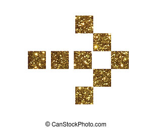 gouden, plat, vrijstaand, richtingwijzer, schitteren, pictogram