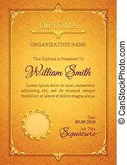gouden, premie, plaque, classieke