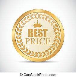 gouden, prijs, best, illustratie, etiket