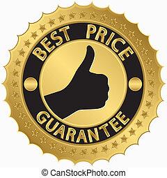 gouden, prijs, etiket, best, borg staan voor