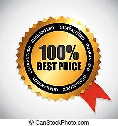 gouden, prijs, illustratie, etiket, vector, best