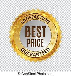 gouden, prijs, illustratie, etiket, vector, glanzend, teken., best