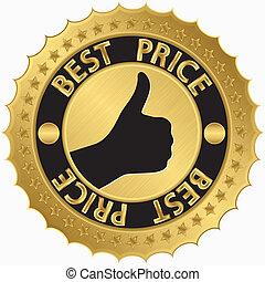 gouden, prijs, vector, etiket, ziek, best