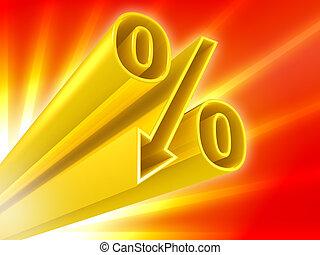 gouden, procent, korting