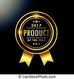 gouden, product, jaar, ontwerp, etiket