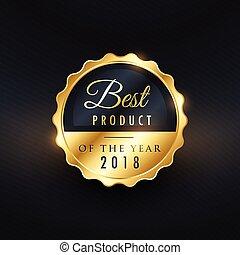gouden, product, premie, etiket, ontwerp, jaar, best
