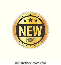gouden, product, sticker, vrijstaand, etiket, zeehondje, nieuw