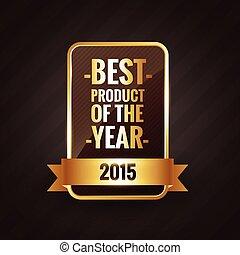gouden, productetiket, ontwerp, jaar, 2015, best