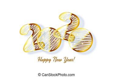 gouden, realistisch, 2020, jaar, nieuw, 3d, kaart, gloed
