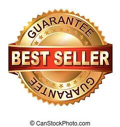 gouden, ribbo, verkoper, best, etiket