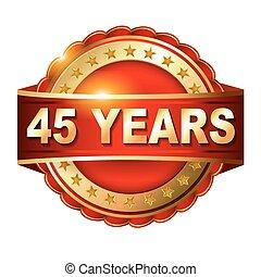 gouden, ribbon., 45, jubileum, jaren, etiket