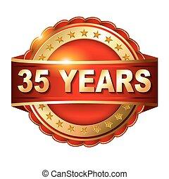 gouden, ribbon., jubileum, 35, jaren, etiket