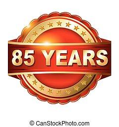 gouden, ribbon., jubileum, jaren, etiket, 85