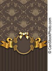 gouden, ribbon., ouderwetse , frame, elegant, luxe, achtergrond