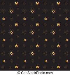 gouden, rijk, model, seamless, vector, zwarte achtergrond, floral