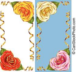 gouden, roos, set., vignet, vector, hoek, hartjes, linten
