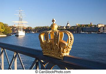 gouden, royalty, kroon