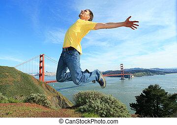 gouden, san, jonge, lucht, het hoge springen, californië, man, francisco, poort, volgende, brug, vrolijke