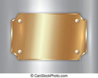 gouden, schaaltje, abstract, metaal, toewijzen, vector, kostbaar