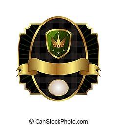 gouden, schild, frame, koninklijke kroon, etiket