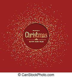 gouden, schitteren, kerstmis, achtergrond, rood
